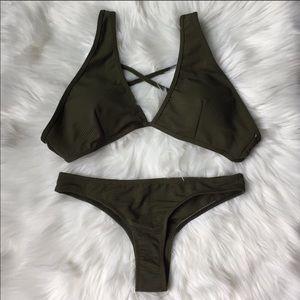 Textured, cross back, thong bikini